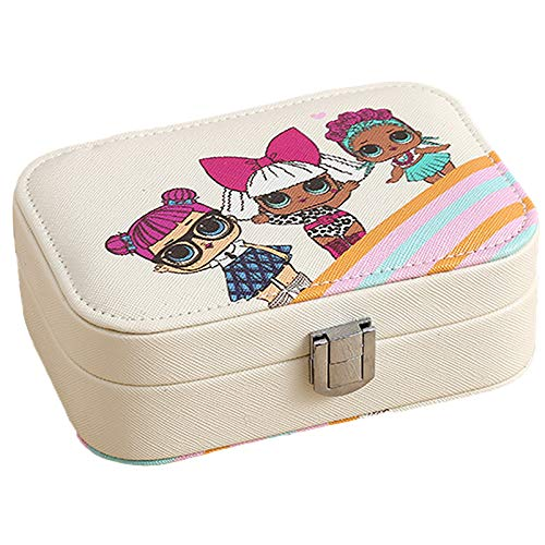 Joyery Box Organizer, Caja de Almacenamiento de Joyas de Cuero PU pequeño PU, para Anillos Pendientes Collar Pulseras Joyas Regalo Caja Chicas Off-White