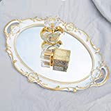 "Schonee Oval Vintage Decorative Mirror Tray, Jewelry Dresser Organizer Tray, Cosmetics Makeup Storage Organizer, Serving Tray (9.8""x 14.6"") White"