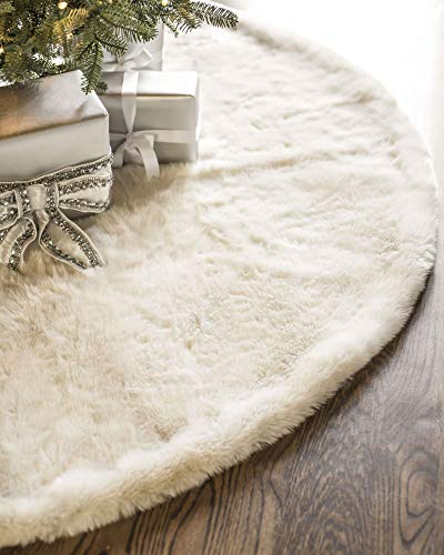 Balsam Hill Lodge Faux Fur Tree Skirt, 60 inches, Ivory White