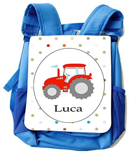 Kindergarten-Rucksack Jungs blau mit Namen/Kindergarten-Tasche Traktor Trekker mit Brustgurt/personalisiertes Geschenk