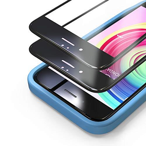 Bewahly Panzerglas Schutzfolie für iPhone 6s / 6 [2 Stück], 3D Full Screen Panzerglasfolie 9H Härte Displayschutzfolie mit Installation Werkzeug für iPhone 6s / iPhone 6 (4,7 Zoll) - Schwarz