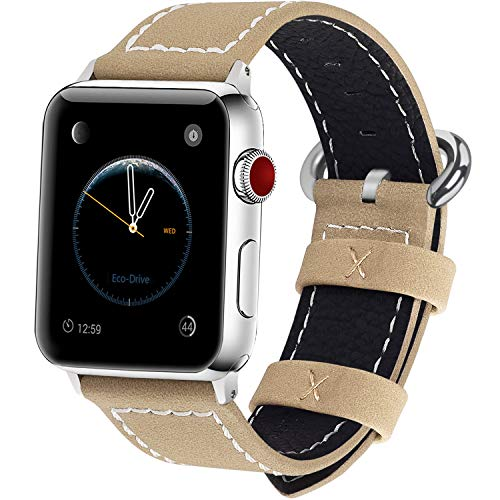 Fullmosa Compatibile Cinturino per Apple Watch 38mm/40mm e 42mm/44mm,9 Colori Mosa Pelle Cinturino/Cinturini di Ricambio per Apple Watch,per iWatch Series 5,4,3,2,1, Uomo e Donna, Cachi