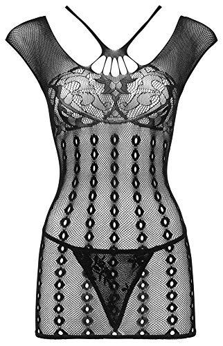 Orion Dessous-Kleid - Verführerisches Reizwäsche-Set für Damen, mit String, verziert mit verschiedenen Mustern, schwarz (S-L)