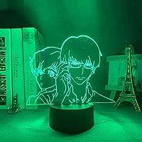 QLWLKJ 3DイリュージョンランプLEDナイトライト光学室装飾7色変更センサータッチテーブルナイトランプアニメアクリルベイビーキッズホームベッドルームギフト寝室装飾マンガギフト-クラックベース_4