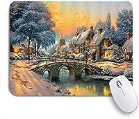VAMIX マウスパッド 個性的 おしゃれ 柔軟 かわいい ゴム製裏面 ゲーミングマウスパッド PC ノートパソコン オフィス用 デスクマット 滑り止め 耐久性が良い おもしろいパターン (アメリカ西部の村の田舎の家と橋の素朴な農家のクリスマス冬の風景)