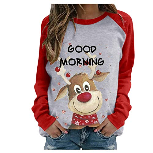 Pullover Tops for Women Christmas Graphic Sweatshirts Casual Sweaters Long Sleeve Solid Color Blouses Shirts
