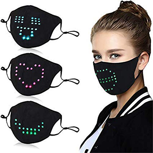 Mingyun Voice Activated LED Face Mask Cool Light Up Smart Masks Funny for Costume Animation Commands Christmas Hallowen Party Carnival Masquerade Talking Face_Masks Black Large