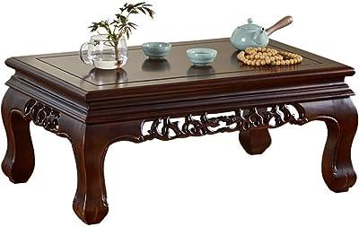 Table Tea Zhuo Solid Wood Chinese Coffee Stylish Tatami Bay Window Window Sill Tea Small Rectangular Zen Tea (Size : 55x35x31cm)