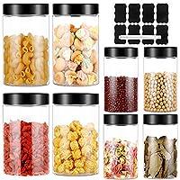 unibaby7 8pc barattoli cucina, contenitori alimentari, contenitori ermetici plastica trasparente, adatto per la conservazione di caffè, zucchero, noci, pasta, senza bpa, con etichetta e penna
