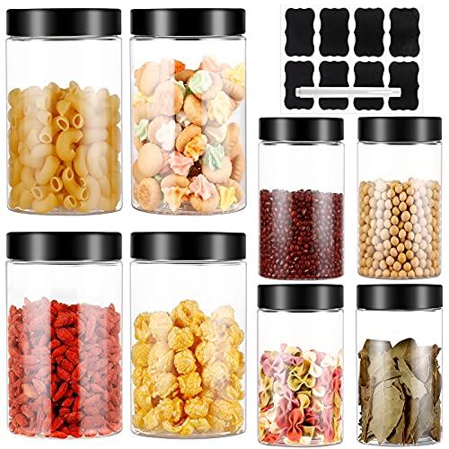 8pc Botes Cocina, Tanque de Almacenamiento de Transparente Plástico con Tapa, Juego de Recipientes Herméticos sin BPA, Set de Tarros de Alimentos con Etiquetas y Bolígrafo(3.6L)