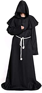 Medieval Monk Hooded Robe Renaissance Priest Friar Halloween Costume