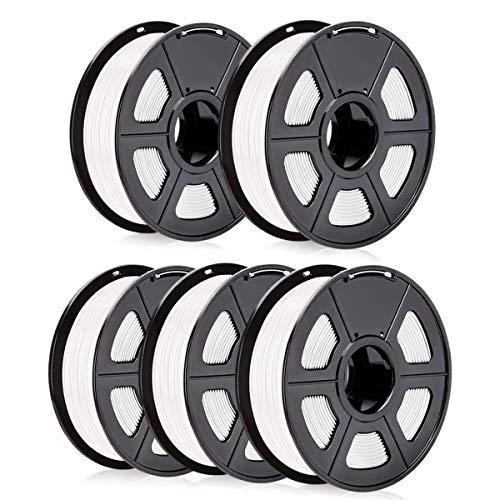 SUNLU ABS Filament 5 Spool, 1.75mm ABS 3D Printer Filament, Strong Enough 3D Printing for 3D Printer, 3D Pen, White5, 5KG