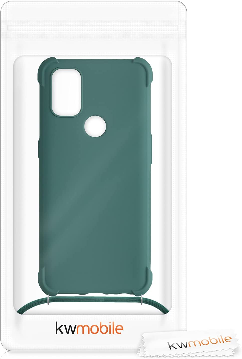 kwmobile Case Compatible with OnePlus Nord N10 5G - Crossbody Case Soft Matte TPU Phone Holder with Neck Strap - Dark Green