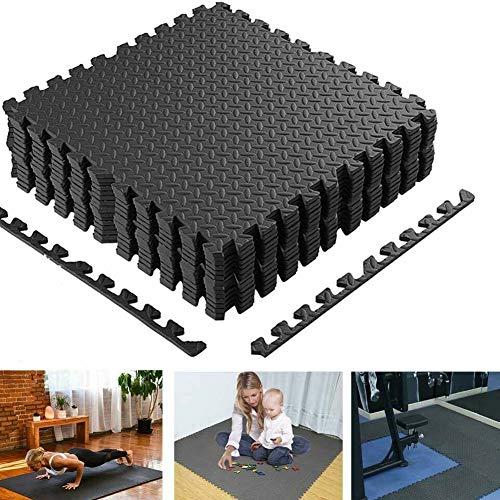 BAKAJI Tappeto Puzzle Tappetino Multiuso Fitness Palestra Gioco Bambini in Schiuma Eva Dimensione 60x60cm Colore Nero (12 pz)