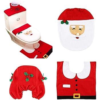 INCREWAY 1 Juego Navidad Fundas para Asientos de Inodoro, Santa WC Set Decoración de Baño de Navidad