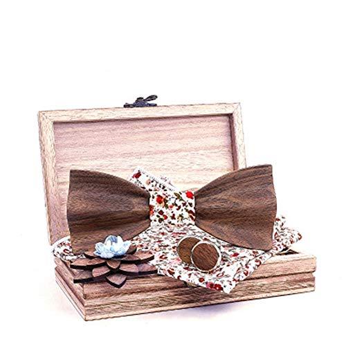 Tie Freizeit Fliege 3D Holz Hochzeit Europa und Amerika Trend Krawatte Set Holz Fliege Massivholz Qualität (Color : 3, Size : Free Size)