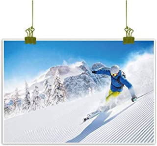Mannwarehouse Winter Wall Art Decor Poster Painting Skier Skiing Downhill in High Mountains Extreme Winter Sports Hobbies Activity Decorations Home Decor 24