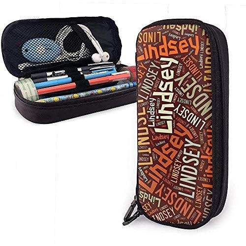 Lindsey - American Nachname Große Kapazität Leder Federmäppchen Bleistift Stift Schreibwaren Halter Veranstalter Büro Filzstift Tragbare Kosmetiktasche