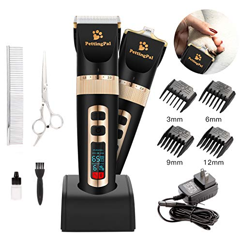 PettingPal Dog Grooming Clippers Professional Heavy Duty 2 in 1 with Small Trimmer Blade Quiet Rechargeable Cordless Electric Hair Cutting Kit for Dogs Cats Pets