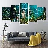 5 piezas cuadro en lienzo Cuadro compuesto por 5 lienzos impresos en HD, utilizados para decoración del hogar y carteles Película de animación Mi vecino Totoro Ghibli (150x80cm sin marco)