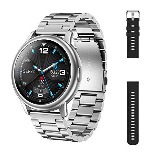 ZHEBEI Reloj Inteligente Hombre LF28 IP68 Impermeable 30 Días de Espera Monitor de Frecuencia Cardíaca Deportes PlateadoNegro