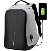 Vanzon Business Laptop Backpack,College Backpack with USB Charging Port,Water Resistant Backpack for Men&Women,Fits 15.6 Inch and Below Laptop-Gray