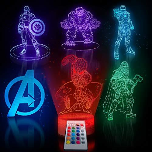 Trendy Home & Garden 6 in1-3d ilusión luz nocturna para niños 7 colores con lámpara de mesa LED remoto-Spiderman-Ironman-Capitán América-Hulk-Thor. Luz nocturna de los...