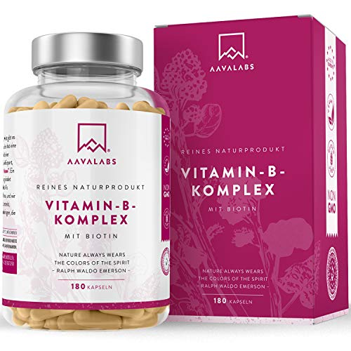 Vitamin B Komplex Hochdosiert - 6 Monate Vorrat (180 Kapseln) - enthält 8 essentielle B Vitamine inkl. B12 B1 B6 B7 mit Biotin und Folsäure - 100{c045bfa180c40f898914db8019789f7948548cbb58f38d324b6223dca23ff812} vegan - getestet durch unabhängige Drittlabore