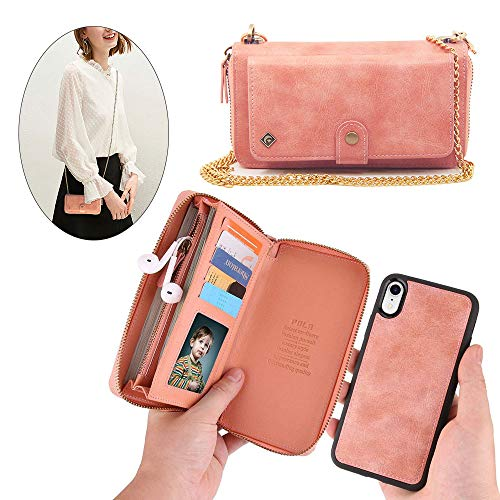 iPhone Xs Wallet Case,iPhone X Wallet Case - JAZ Crossbody Chain Satchel Zipper Purse Detachable Magnetic 14 Card Slots Momey Pocket Clutch Leather Wallet Case for Apple iPhone X/XS - Rose Gold