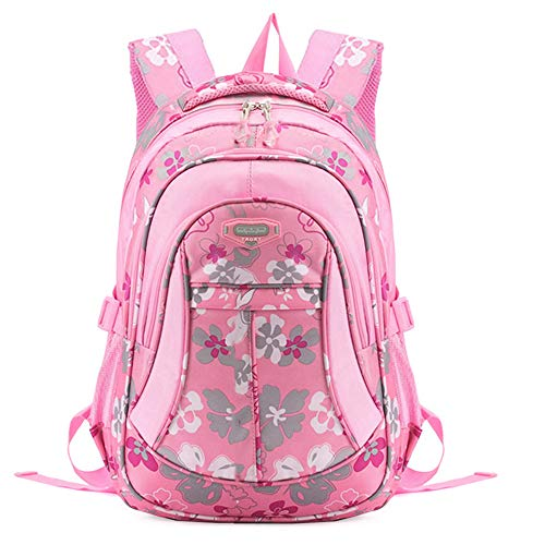 JiaYou Girl Flower Printed Primary Junior High University School Bag Bookbag Backpack (24 Liters, Style A Pink)