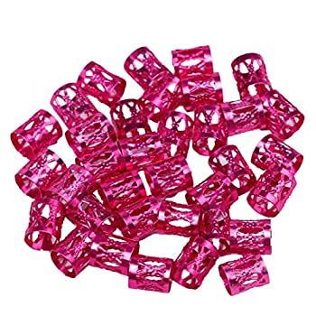 Beautywin Dreadlock Beads Colorful Cool Adjustable Hair Braid Rings Hair Styling Accessories Tools Golden/Silver/Mix Silver Braid Cuff 50 pcs/pack  Rose