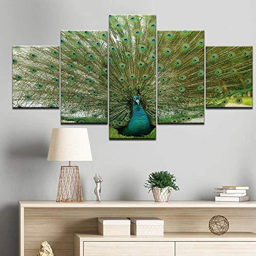 XKLDP Pinturas abstractas en Lienzo de Pavo Real Impresiones artísticas de Pared imágenes 5 Piezas Carteles decoración del hogar-40x60 40x80 40x100cm sin Marco