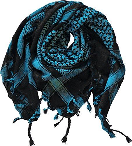 Harrys-Collection PLO Tuch in 20 Farben 100% Baumwolle dick, Farben:schwarz mit türkis