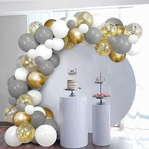 Arco de Globos Dorados Blancos Grises SKYIOL Kit Guirnaldas 100 Helio Confeti Metalizados Látex Globos con 5m Arco Puntos Adhesivos para Niña Cumpleaños Boda Comunion Baby Shower Fiesta Decoración
