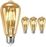 Lampadina Vintage Edison, Samione LED Lampadine Decorativo E27 Retrò Dimmerabile Luce Filamento della Lampadina a Vite Ideale per Casa, Caffe, Ristorante, Bar - 3 pezzi