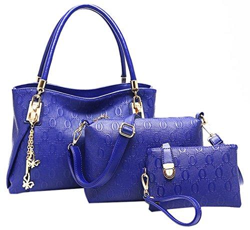 Coofit® donne cuoio dell'annata della borsa a tracolla Tote della cartella Hobo Set Blu