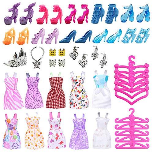ATIN 50 artículos de Barbie Ropa Bundle Zapatos Perchas Vestidos de Muñeca