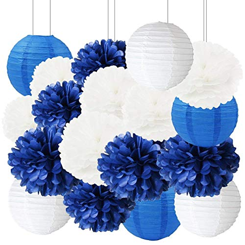 Furuix Navy Bridal Shower Decorations 18pcs White Navy Blue Tissue Paper Pom Pom Paper Lanterns for Navy Blue Wedding/Birthday Party Decorations Baby Shower Decoration
