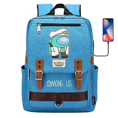 Among Us - Mochila escolar para ordenador portátil para niños y niñas, unisex, ligera de 20 l, mochila de día de lona, diseño de dibujos animados, azul, 09,