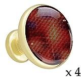 Rotbraune veränderbare Farben Schubladenknöpfe Gold Metall Schranktür Knöpfe Griffe mit Kristallglas für die Tür der Kommode Schrank Kleiderschrank Bad zieht (4 Stück) 3.2x3x1.7cm