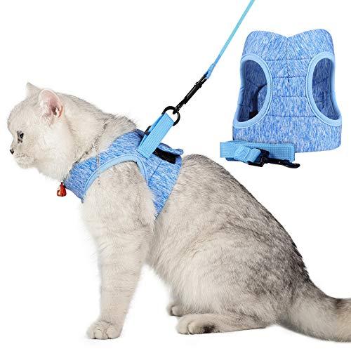 WD&CD Arnés para Gato, Antiescape y Ajustable Arnés Gato Transpirable para Correr, Entrenamiento, Gatos Pequeños y Medianos, Gatos Bebes para Caminar con Gatito, Azul, L