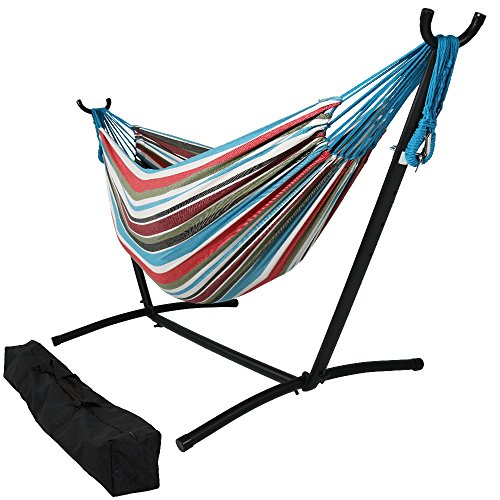 Sunnydaze Double Brazilian Hammock with Stand & Carrying Case - Large Two Person Hammock with Brazilian Stand - 400 Pound Capacity - Cool Breeze