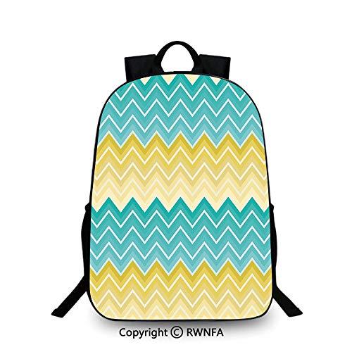 Sfeatru Backpack Mochila ligera para niños y niñas, colorida, diseño de rayas horizontales, estilo zigzag, diseño inspirado en el ombre, color mostaza