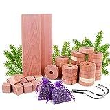 Repelente de polilla de madera de cedro, paquete de 50 bolsas de lavanda de bolas de polilla de...