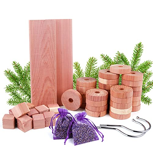 Répulsif contre les mites en bois de cèdre, pack de 50 sacs de lavande de boules Anti-mites en bois de cèdre, ensemble de protection contre les insectes de cèdre naturel, pour le stockage/les armoires
