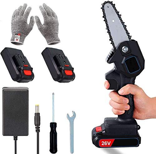 Mini-Elektro-Säge, 4-Zoll-Akku-Kettensäge, 2 Batterien und bürstenloser Kettenmotor, 26-V-Elektro-Handsäge 0,7 kg leicht, elektrische Säge zum Schneiden von Holz