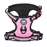 PoyPet No Pull Dog Harness, [Release on Neck] Reflective Adjustable No Choke Pet Vest with Front & Back 2 Leash Attachments, Soft Control Training Handle for Small Medium Large Dogs(Light Pink,M)