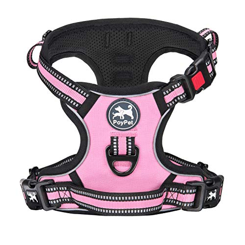 PoyPet No Pull Dog Harness, [Release on Neck] Reflective Adjustable No Choke Pet Vest with Front & Back 2 Leash Attachments, Soft Control Training Handle for Small Medium Large Dogs(Light Pink,XS)