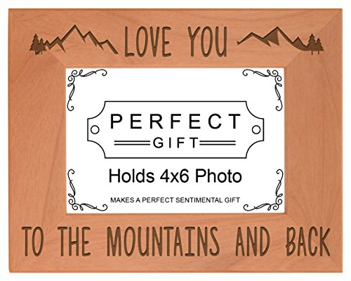 ThisWear Mountain Frame Love You to The Mountains Back Wood Engraved 4x6 Landscape Picture Frame