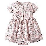Vestido Niña Ropa Bebé Vestidos Manga Corta Princesa ReciéN Nacida Verano Flor Impreso Traje Dom Flor 12-18 Meses
